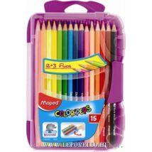 SZÍNESCERUZA 12+3 fluo MAPED ColorPeps trió SMART BOX