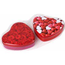 DÍSZDOBOZ fém 16*13,5cm szív alakú szives/rózsás
