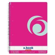 FÜZET spirál A4 HERLITZ kockás 80l  CB x.book színes (pink, 11365590)
