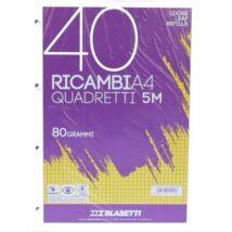 GYŰRŰSKÖNYV betét A4/40lap kockás Blasetti Ricambi fehér 1201