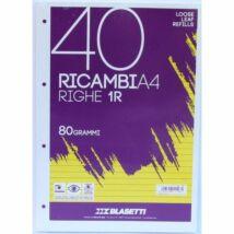 GYŰRŰSKÖNYV betét A4/40lap vonalas Blasetti Ricambi fehér 1198