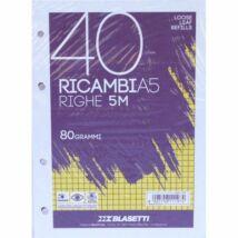 GYŰRŰSKÖNYV betét A5/40lap kockás Blasetti Ricambi fehér 1197