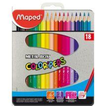 SZÍNESCERUZA 18 MAPED ColorPeps trió FÉM doboz