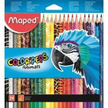SZÍNESCERUZA 24 MAPED ColorPeps Animals