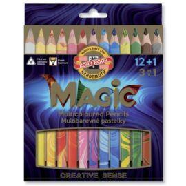 SZÍNES CERUZA 12 vastag Magic KOH3408/13 3in1