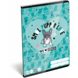 *51992 FÜZET A5  LIZZY21 vonalas 1.oszt. 14-32 We Love Dogs Blue