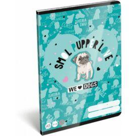 *53816 FÜZET A5 LIZZY21 vonalas 21-32 We Love Dogs Blue