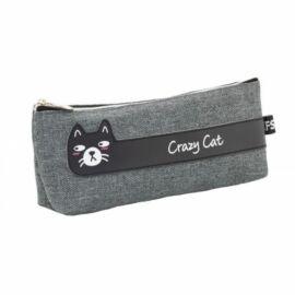 *54192 TOLLTARTÓ neszeszer CFS lapos szürke, cicás Crazy Cat