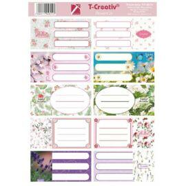 FÜZETCIMKE T-Creativ mintás 10db /1iv (Flowers'21, N13035TFL)