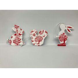 DEK. fa piros/fehér szív, virág, lepke, nyúl, csirke