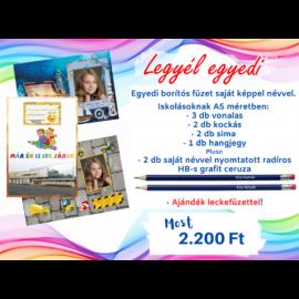 FÜZET EGYEDI borítóval 8 db + ceruza névvel 2 db