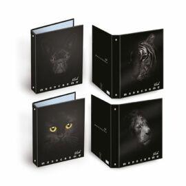 GYŰRŰSKÖNYV A4 PIGNA Monocromo Black  4ring 3cm gerinc