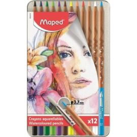 """SZINESCERUZA 12 MAPED """"Artists"""" akvarell+ecset fém dobozban"""