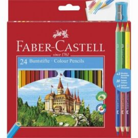 SZÍNESCERUZA 24 FABER Castell+hegyező+3db bicolor ceruza 110324