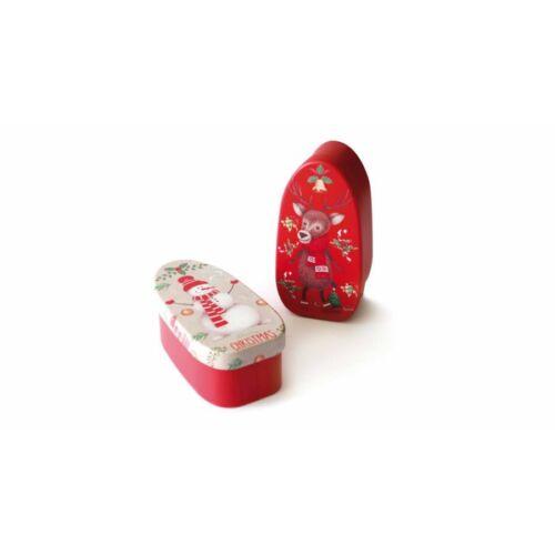DÍSZDOBOZ fém NIFTY GIFT karácsonyi,  vasalótalp alakú  4,5*4,*10cm