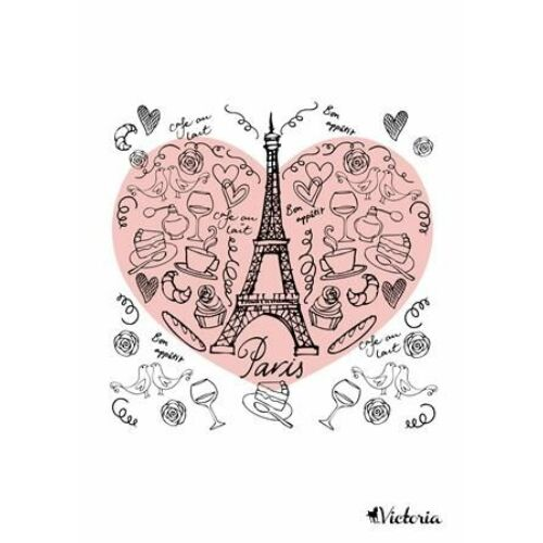 FÜZET A4  VICTORIA  mintás vonalas 96l vegyes minta (Paris Love, ISVFPPL496TV)