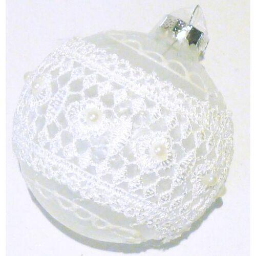 GÖMB KARÁCSONYI üveg fehér csipkés