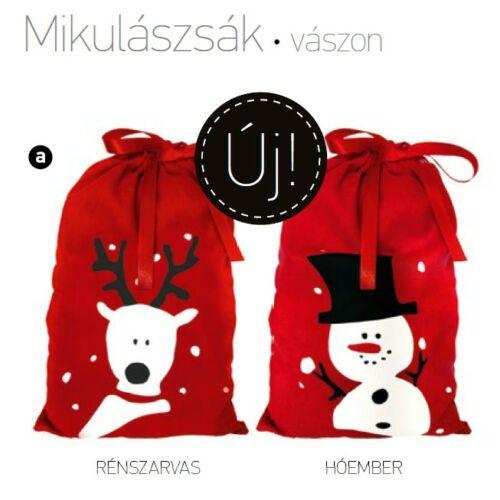 MIKULÁS zsák textil hóember/rénszarvas 185*300 piros vászon