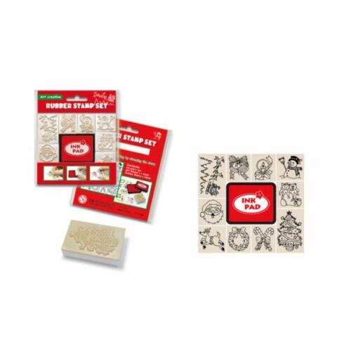 NYOMDA gumi CreArt Karácsony 10db/csom.  minta + piros tintapárna