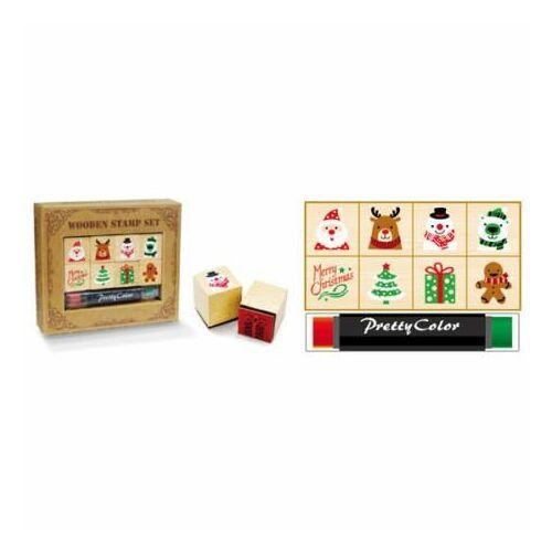 NYOMDA szett fa karácsonyi 8db+ tintapárna  20*20*22mm