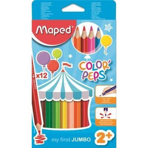 SZÍNESCERUZA 12 MAPED Maxi ColorPeps trió 5mm bél