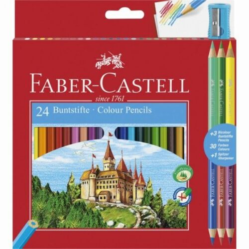 SZÍNES CERUZA 24 FABER Castell+hegyező+3db bicolor ceruza 110324
