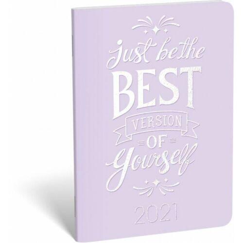 ZSEBNAPTÁR 2021 heti B6 tűzött álló Lizzy aranyozott (Best lila, 20828399)