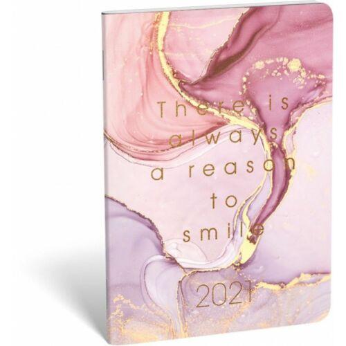 ZSEBNAPTÁR 2021 heti B6 tűzött álló Lizzy aranyozott (Smiley, 20829099)