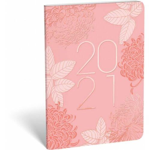 ZSEBNAPTÁR 2021 heti B6 tűzött álló Lizzy aranyozott (Pink Rose, 20828999)