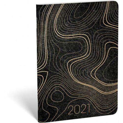 ZSEBNAPTÁR 2021 heti B6 tűzött álló Lizzy aranyozott (Waves, 20829299)