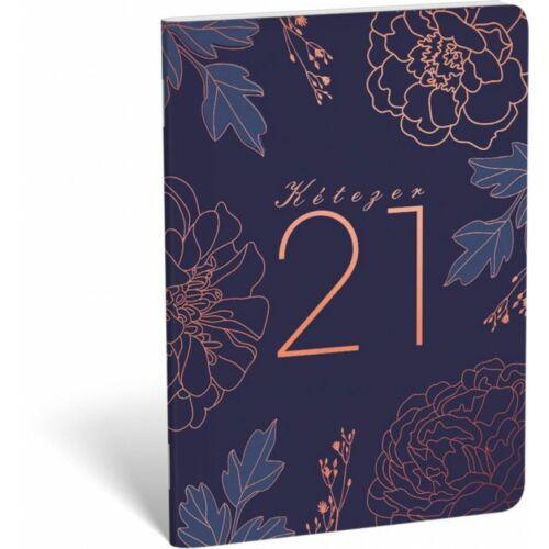 ZSEBNAPTÁR 2021 heti B6 tűzött álló Lizzy aranyozott (Blue Rose, 20828599)