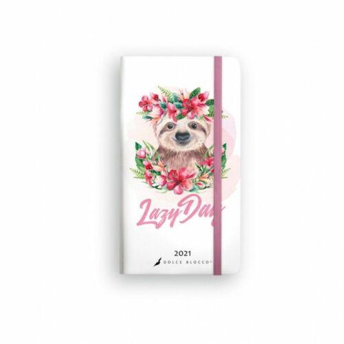ZSEBNAPTÁR 2021 heti fekvő  SECRET Pocket Planner Lizzy Dolce Blocco gumis,kerekitett (Lazy Day, 20845099)