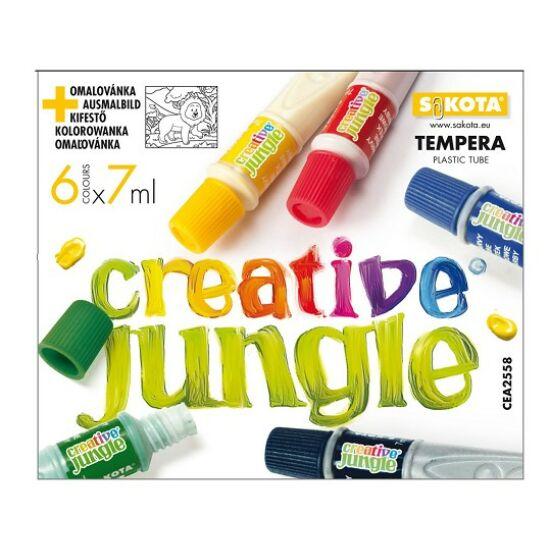 TEMPERA  6 SAKO Creative Jungle  7ml  müa. tubusos ajándék kifestővel