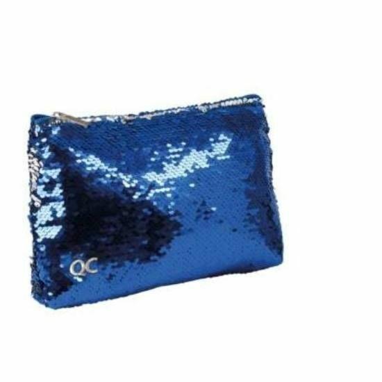 KOZMETIKAI táska Quattro Colori Sparkle flitteres, kék