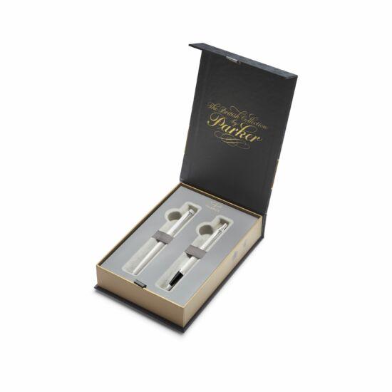 Parker I. M.  Royal szett gtoll+töltőtoll FEHÉR ezüst klipsz+díszdoboz